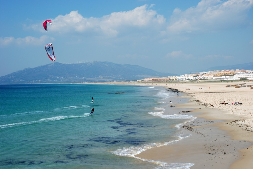 Kite surfing in Tarifa, southern Spain